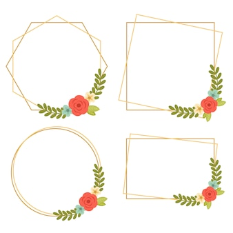 015-vintage wedding geometric floral frames collections