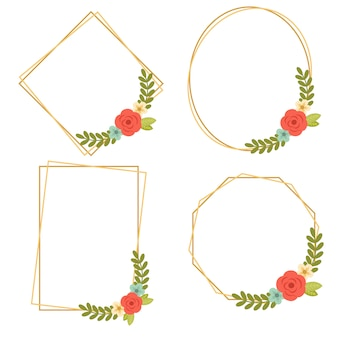 016-vintage wedding geometric floral frames collections