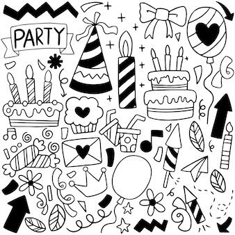 02-09-020 hand drawn party doodle happy birthday ornaments background pattern vector illustration