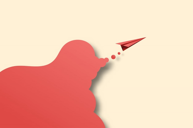 03.red paper airplane fly on background