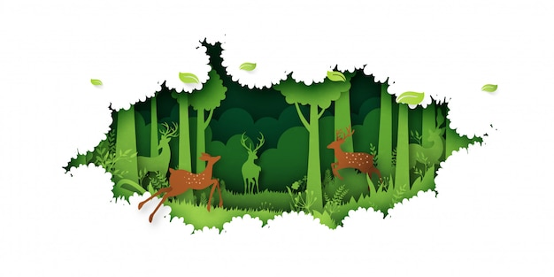 07.green jungle forest nature landscape background paper art style