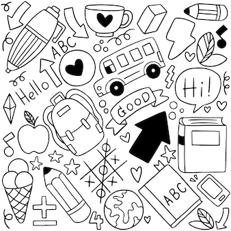 08-09-080手描きの学校アイコン装飾セット背景patternflagのセット