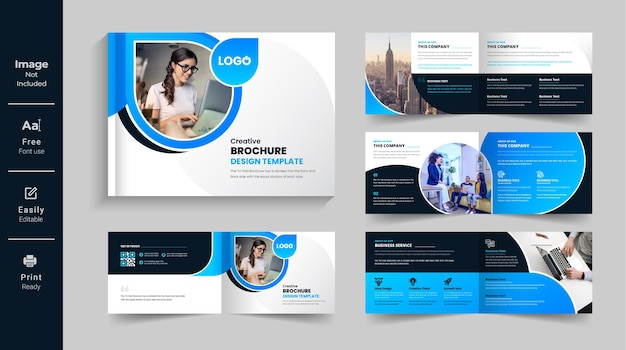 08 page corporate modern landscape bifold brochure template company profile annual report design