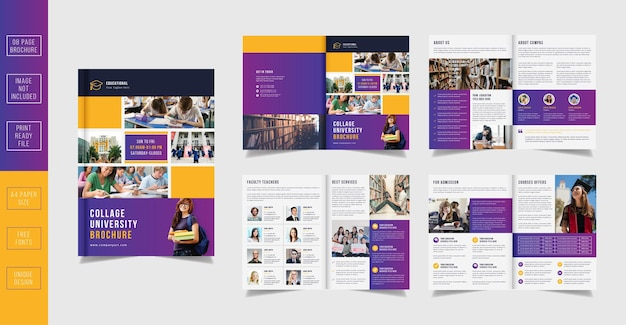 08 pages back to school collage education admission pages brochure template