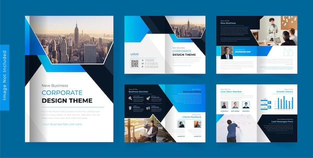 08pages corporate business brochure design template modern abstract theme