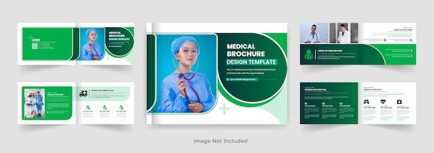 08pages doctor or medical landscape brochure design template blue color shape modern layout