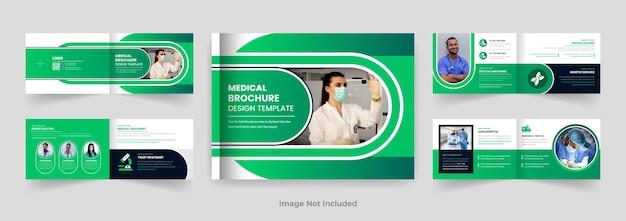 08ページ医師または医療風景パンフレットデザインテンプレート青い色の形モダンなレイアウト
