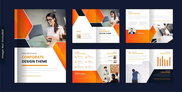 08pages modern corporate business brochure design template colorful dark theme