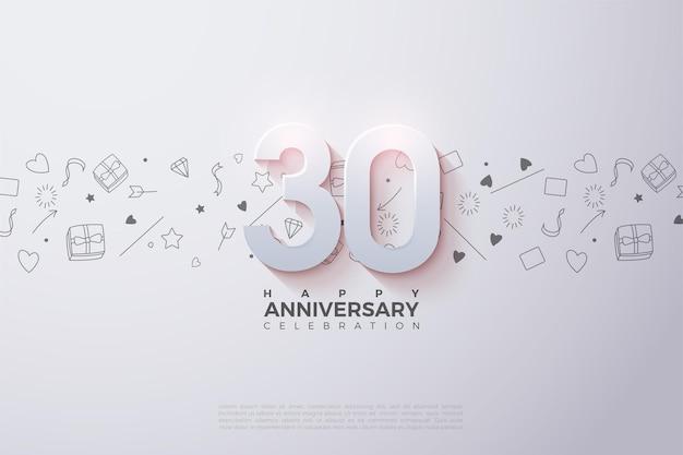 数字のイラストと小さなイラストの背景と0周年記念の背景