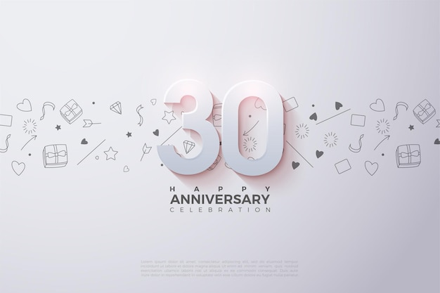 0th anniversary background with numbers illustration and small illustrated background