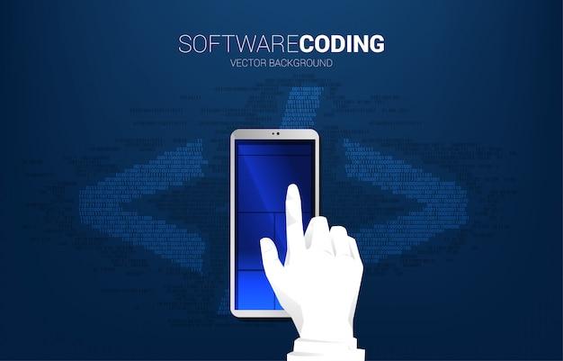 実業家の手は、1桁と0桁のマトリックススタイルの携帯電話と背景の雲をクリックします。