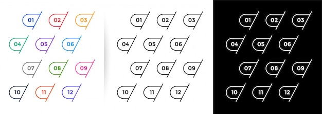 1から12の線スタイルの箇条書き番号のセット
