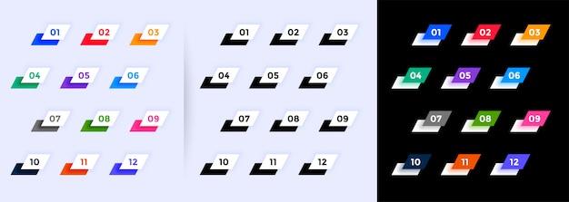 1から12までのモダンな幾何学的な箇条書き番号