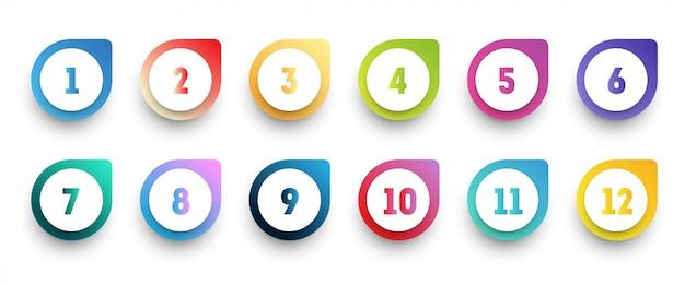 1から12までの数字で設定されたカラフルなグラデーション矢印の箇条書きアイコン。