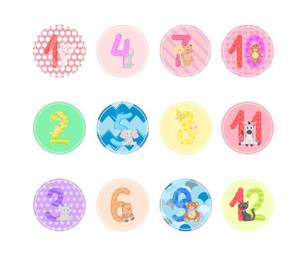 Симпатичные комнаты для детей с дизайном животных. вектор целых чисел от 1 до 12