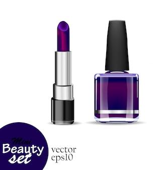 リアルな化粧品。 1つのチューブの口紅と1つのボトルのマニキュアは、白い背景に濃い紫の色を飽和しています。イラストミニ美容セット。