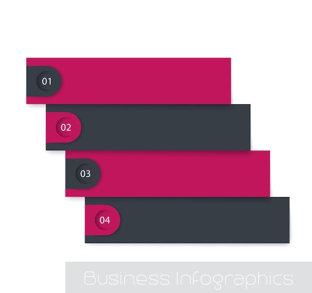 1,2,3,4ステップ、タイムライン、テキスト用の空のスペースを持つインフォグラフィック要素