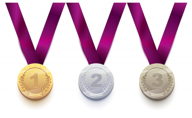 Комплект спортивной медали 1 золото, 2 серебра, 3 бронзы