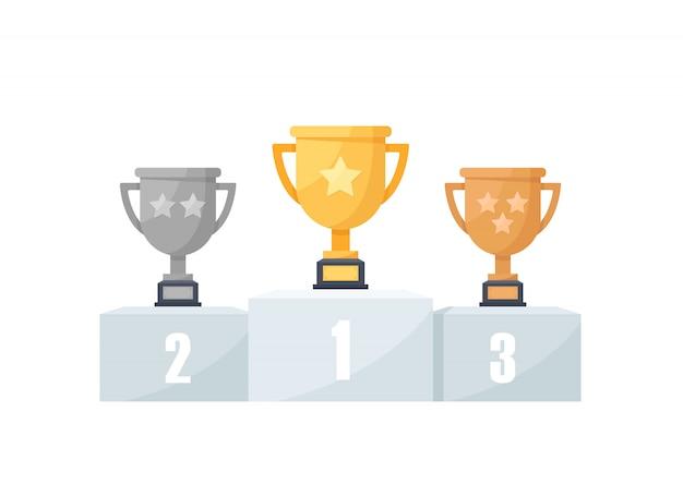1-е, 2-е и 3-е места. золото, серебро, бронза, трофей, плоский дизайн значок