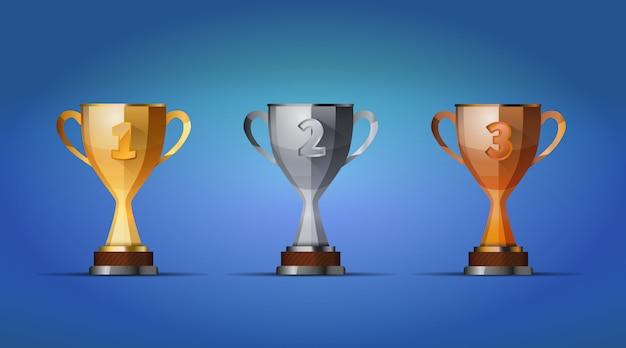 青色の背景に、1位、2位、3位の優勝者のための優勝カップ