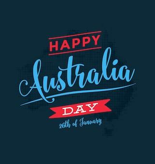 オーストラリアの日 -  1月26日 - ヴィンテージタイポグラフィーデザイン