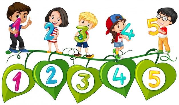 子供と1から5までの数字