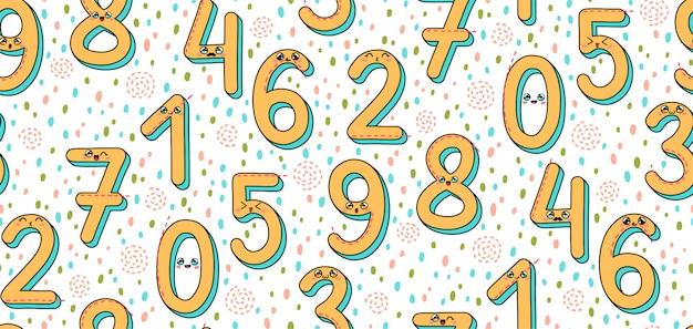Безшовная картина с номерами 1-9 в стиле kawaii японии.