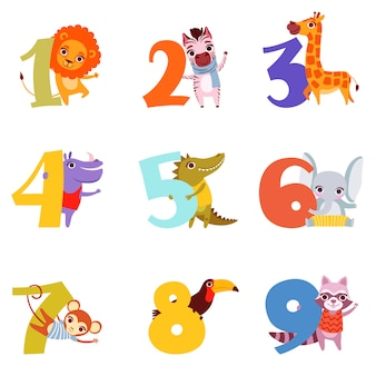 Красочные номера от 1 до 9 и животные.