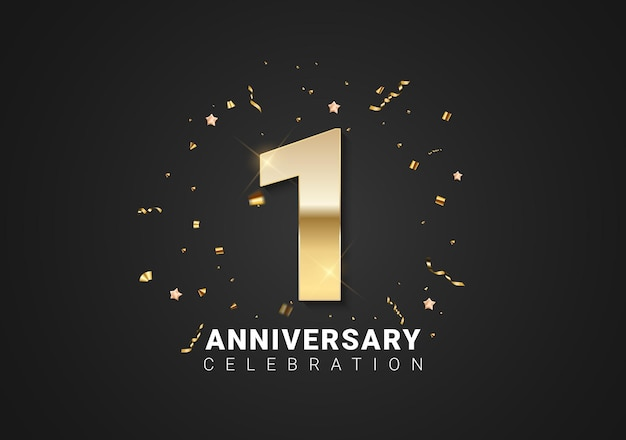 1 anniversary background with golden numbers, confetti, stars on bright black holiday background. vector illustration
