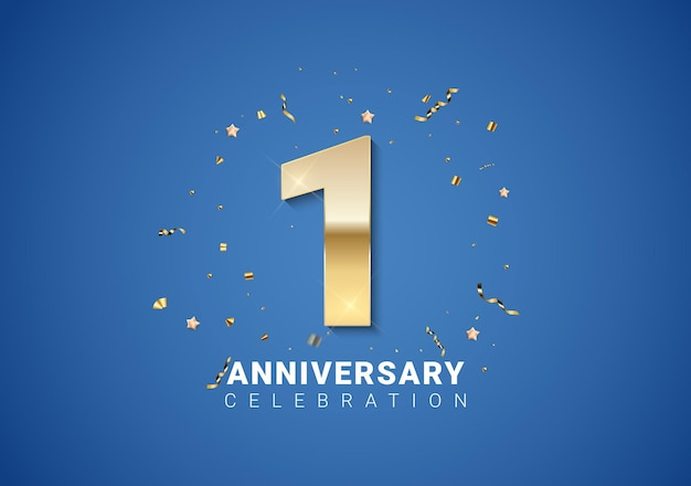 1 anniversary background with golden numbers, confetti, stars on bright blue background. vector illustration eps10