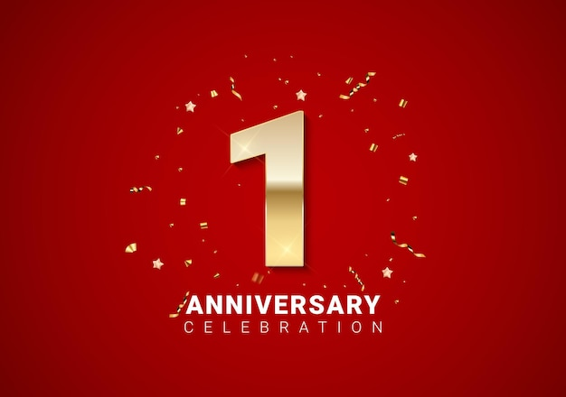 1 anniversary background with golden numbers, confetti, stars on bright red holiday background. vector illustration eps10