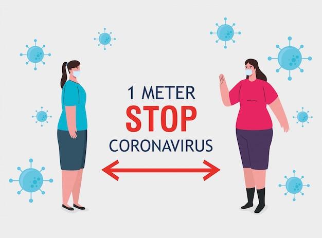 社会的距離、コロナウイルスを1メートルの距離で停止、covid-19から保護する人々と公共社会の距離を保つ、コロナウイルスに対して医療用マスクを着用している女性