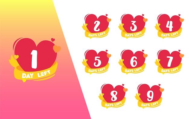 1 day count left heart shape valentine badge set