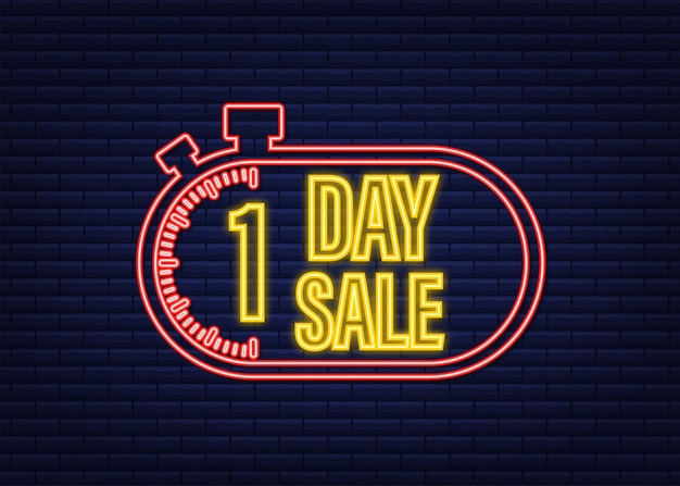1 day sale. countdown timer. clock icon. glitch icon. time icon. count time sale. neon icon. vector stock illustration.