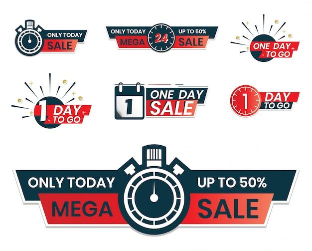 カウントダウンするための1日。 1日セール。ソーシャルメディアでのプロモーションのためのステッカーラベルの形での今日の販売のみ。