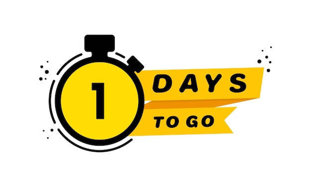 1 days to go icon set. announcement. countdown left days banner. vector on isolated white background. eps 10.