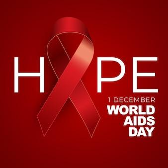 12月1日世界エイズデーのコンセプトと赤いリボンのサイン。