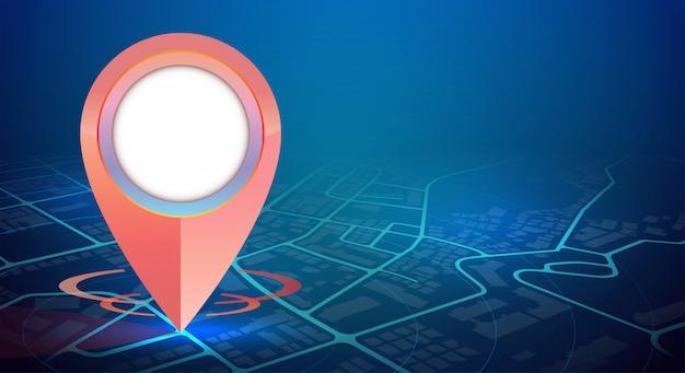 市内地図と空き領域の1つのgpsピンモックアップ