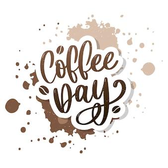 1 октября международный день кофе logo. иллюстрация вектора значка логотипа дня кофе мира на белой предпосылке.