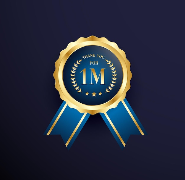 100万人のフォロワーのお祝いの金メダル
