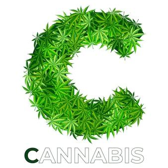 6の1。文字c.大麻またはマリファナの葉のロゴのデザインテンプレート。エンブレム、ロゴ、医療サービスまたはパッケージの広告用の麻。フラットスタイルのアイコン。孤立