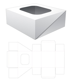 1 piece flip packaging box with top window cut template