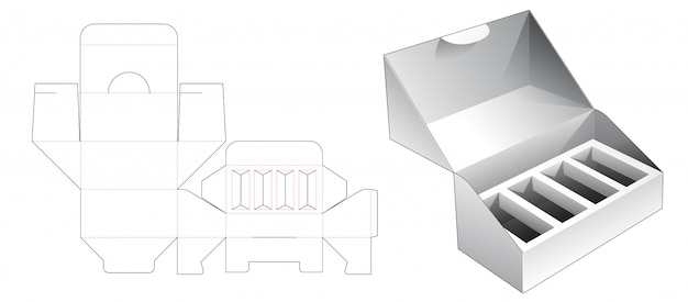 1 piece packaging with insert supporter die cut template