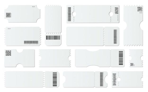 空白のチケットのモックアップ。バーコード付きの白いチケット、空のクーポン、および1つのチケットテンプレートセットを認めます。引き剥がし要素のあるクーポン。 qrコード、デジタル識別。ギフトカードのサンプル