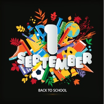 1 september day of knowledge. education vector bright illustration.