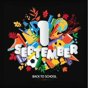 1 сентября день знаний. образование вектор яркие иллюстрации.