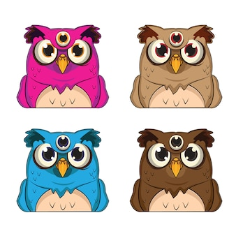 1 set of animal avatars with 4 owl themes
