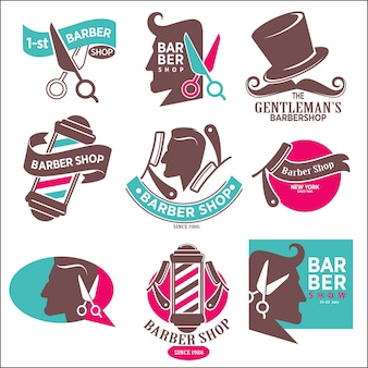 1-st gentleman's barbershop. hairdresser stickers.