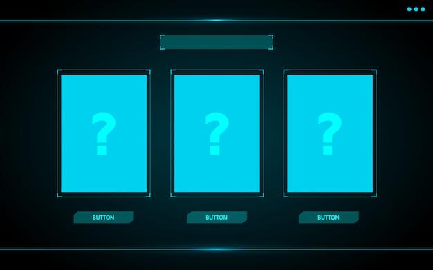 カードを1つ選択してください。デジタルビジネス向けのゲームuiインターフェースhudの抽象的なテクノロジーデザイン