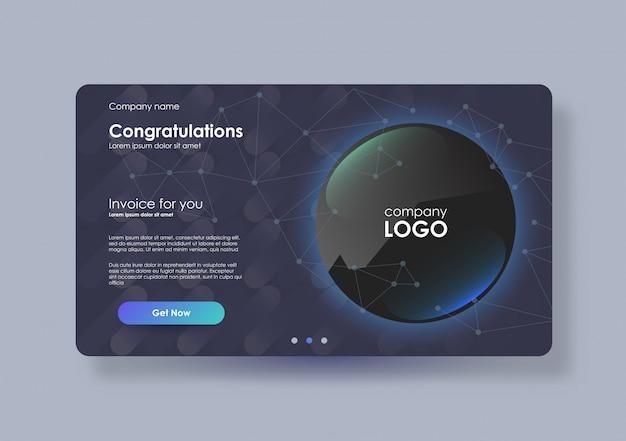 印刷およびアプリ用の1ページのウェブサイトテンプレートまたは抽象デザインカード。クリエイティブweb請求書レイアウト。